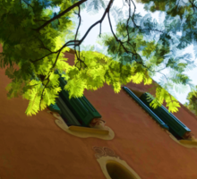 Whimsical  Building Through the Trees - Impressions Of Barcelona Sticker