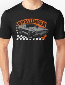 Dodge Challenger | Grey - Orange - White T-Shirt