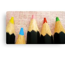 Colourful Pencils All-in-a-Row Canvas Print