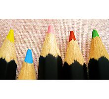Colourful Pencils All-in-a-Row Photographic Print