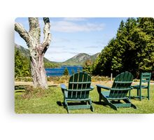 Green Adirondack Chairs at Maine Lake Canvas Print