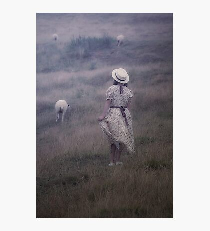 the girl and the sheep Photographic Print