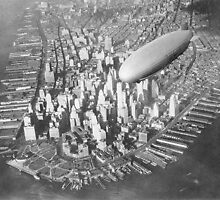 USS Akron flying over the southern end of Manhattan, New York, New York, United States, circa 1931-1933 by Adam Asar