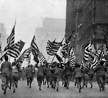 WAKE UP, AMERICA! It was an inspiring moment when, during the great parade up Fifth avenue, New York, recently, the boy scouts charged with flags flying. 1917 by Adam Asar