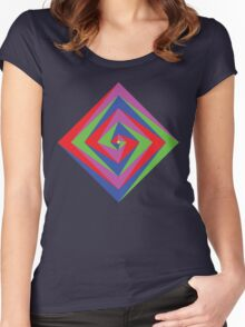 Angled Color Spiral Women's Fitted Scoop T-Shirt