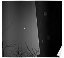 Moon Over Manhattan BW Poster