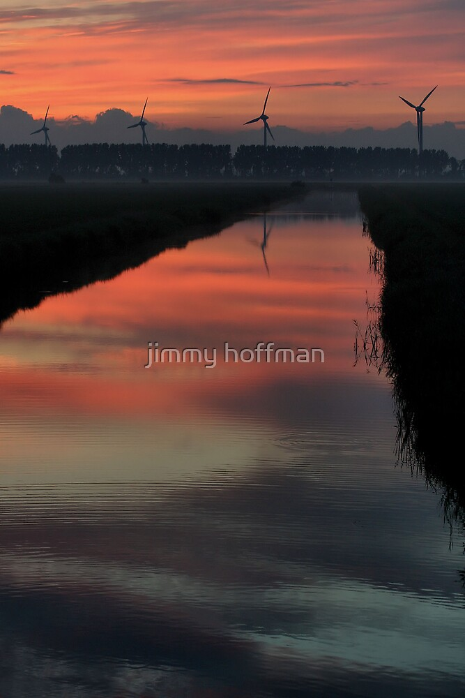 Dutch sunset with windmills by jimmy hoffman
