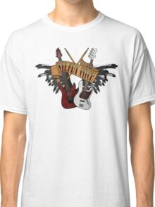 The Music Pitch... Rock'n'Roll and let your guitar, bass and drums rock! (Clear version) Classic T-Shirt