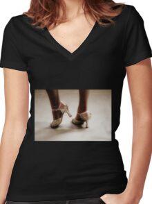 Dancing feet Women's Fitted V-Neck T-Shirt