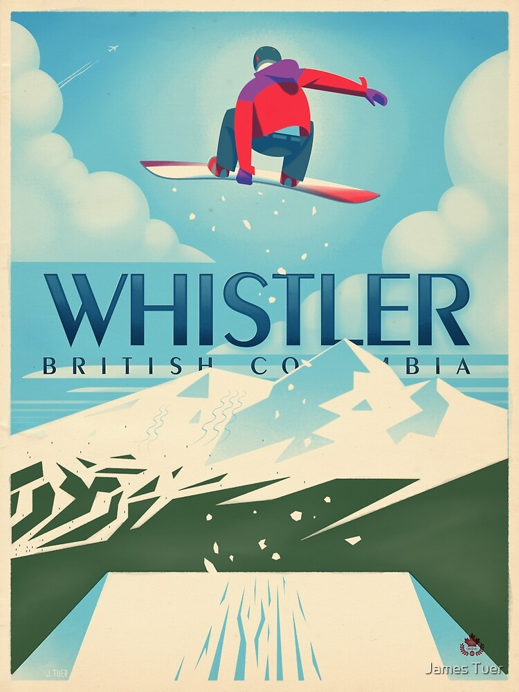 """Snowboard Booter"" Whistler, BC Travel Poster by James Tuer"