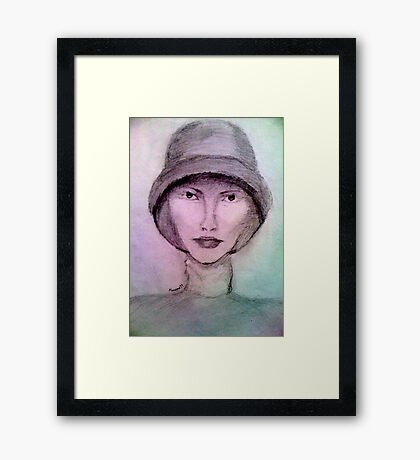Woman in hat Framed Print