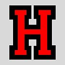 Letter H Black/Red Character by theshirtshops