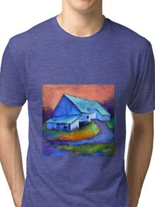 Gauguin's Barn Revisited, from original pastel by Madeleine Kelly Tri-blend T-Shirt