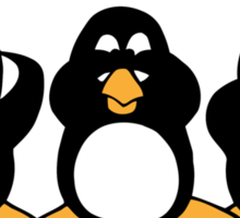 Three Wise Penguins Design Graphic Sticker