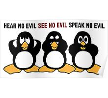 Three Wise Penguins Design Graphic Poster