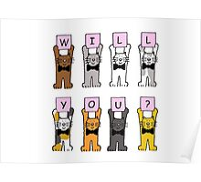 Will you? Cartoon Cats. Poster