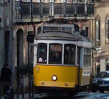 Yellow tram, Lisbon, Portugal by emergentdesigns