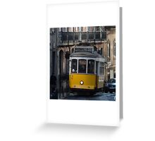 Yellow tram, Lisbon, Portugal Greeting Card