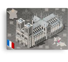 Isometric Infographic Notre Dame de Paris Metal Print