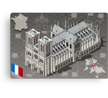 Isometric Infographic Notre Dame de Paris Canvas Print