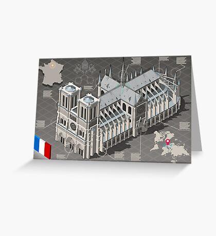 Isometric Infographic Notre Dame de Paris Greeting Card