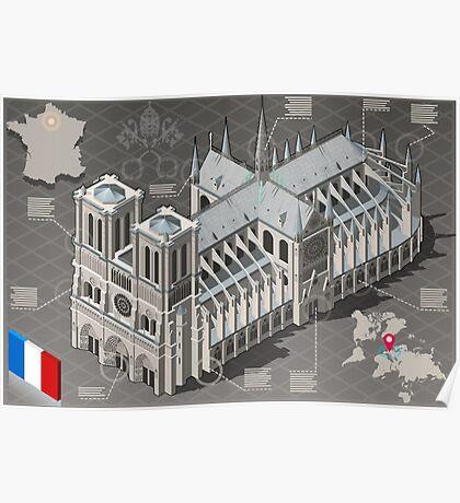 Isometric Infographic Notre Dame de Paris Poster