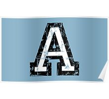 Letter A (Distressed) two-color black/white character Poster