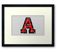 Letter A (Distressed) two-color black/red character Framed Print