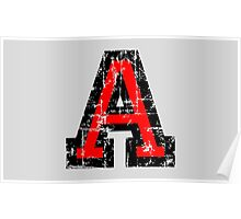 Letter A (Distressed) two-color black/red character Poster