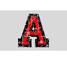 Letter A (Distressed) two-color black/red character Photographic Print