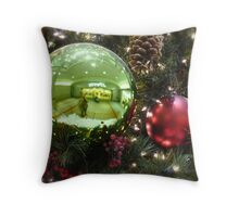 Self Portrait in the Bulb of J.C. Penny's Xmas Tree Throw Pillow