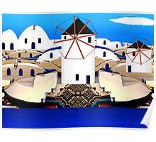 Aegean Windmills of Santorini  (G1394) Poster