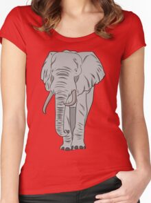 Cartoon Elephant  Women's Fitted Scoop T-Shirt