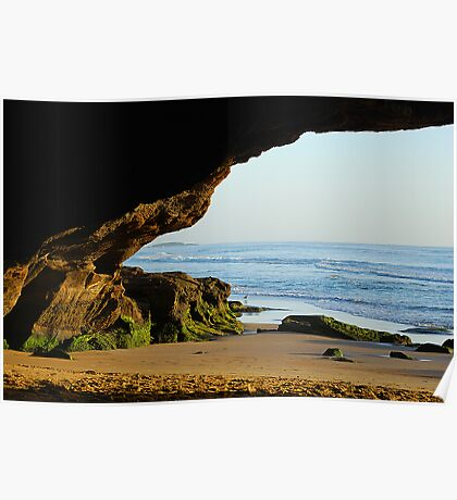 The Front Door to the Cave - Caves Beach Poster