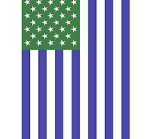 Green & Blue American Flag by freezinghot