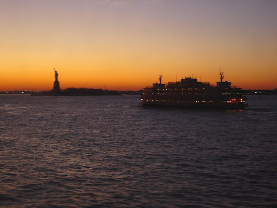 New York Harbor Skyline at Sunset  by clizzio