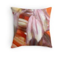closeup of grass heads and red hot poker flowers Throw Pillow