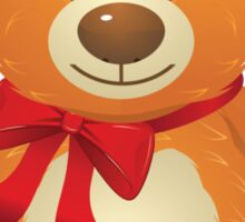 Teddy Bear with Red Bow Sticker