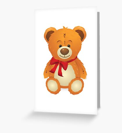 Teddy Bear with Red Bow Greeting Card
