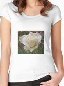 Close up of white rose Women's Fitted Scoop T-Shirt