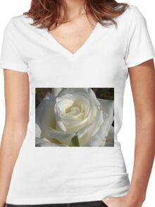 Close up of white rose 6 Women's Fitted V-Neck T-Shirt