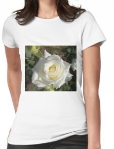 Close up of white rose 7 Womens Fitted T-Shirt