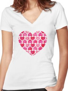 Ruby Hearts Women's Fitted V-Neck T-Shirt