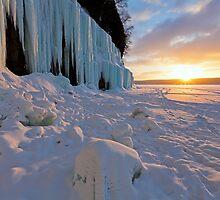 Grand Island Ice Curtains at Sunrise - Munising, Michigan by Craig Sterken