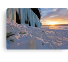 Grand Island Ice Curtains at Sunrise - Munising, Michigan Canvas Print
