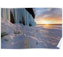 Grand Island Ice Curtains at Sunrise - Munising, Michigan Poster