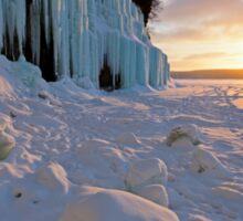 Grand Island Ice Curtains at Sunrise - Munising, Michigan Sticker