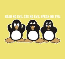Three Wise Penguins Design Graphic Kids Clothes