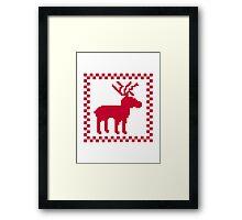 Red moose pixel mattern Framed Print