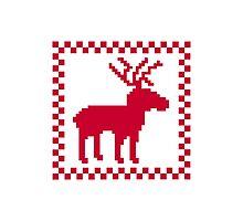 Red moose pixel mattern Photographic Print